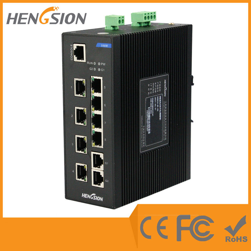 8E + 2G Fiber Network Switch , 8 100M TX Ports + 2 100 / 1000M TX Ports Industrial Switch