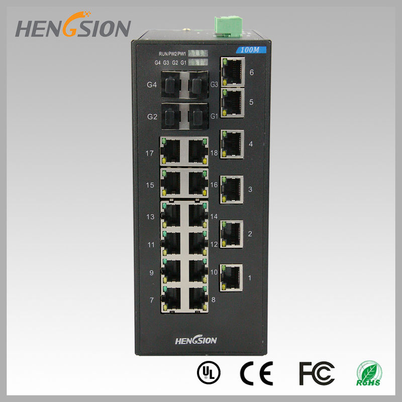 18 Electric port + 4 Gigabit FX fiber optic 28 Port Switch , Industrial Ethernet Switch