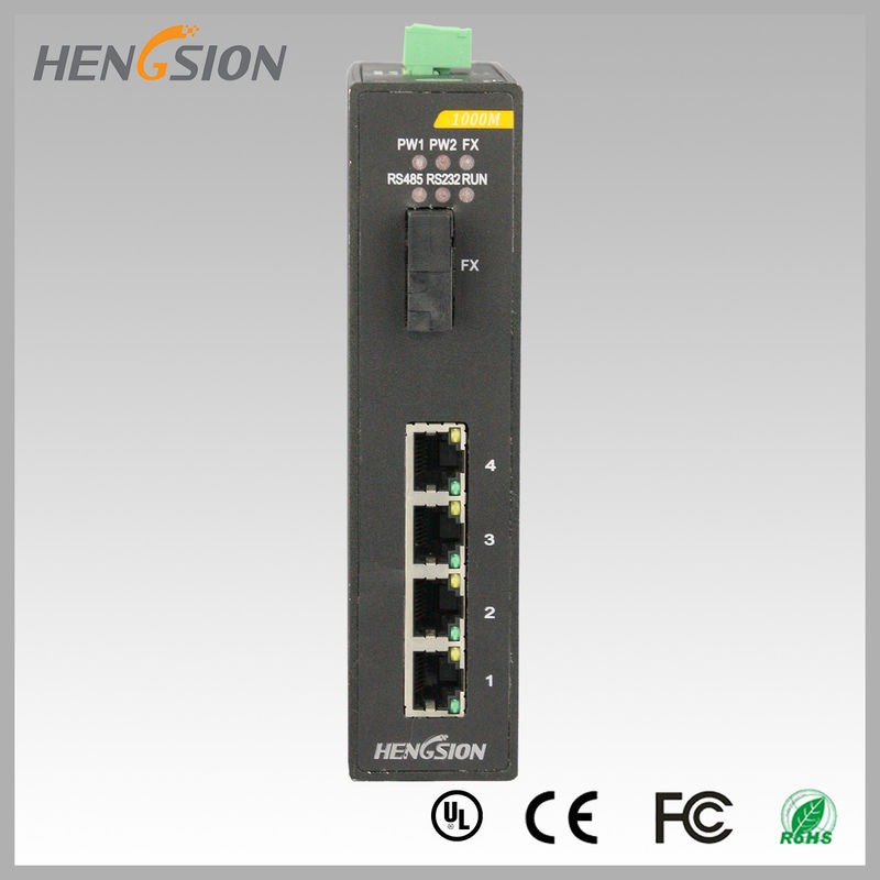 5 Port Gigabit Network Switch 1 gigabit FX port , Din rail Network Ethernet Switch